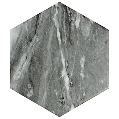 "SomerTile FEQ8BXD Murmur Bardiglio Hexagon Porcelain Floor and Wall Tile, 7"" x 8"", Dark"