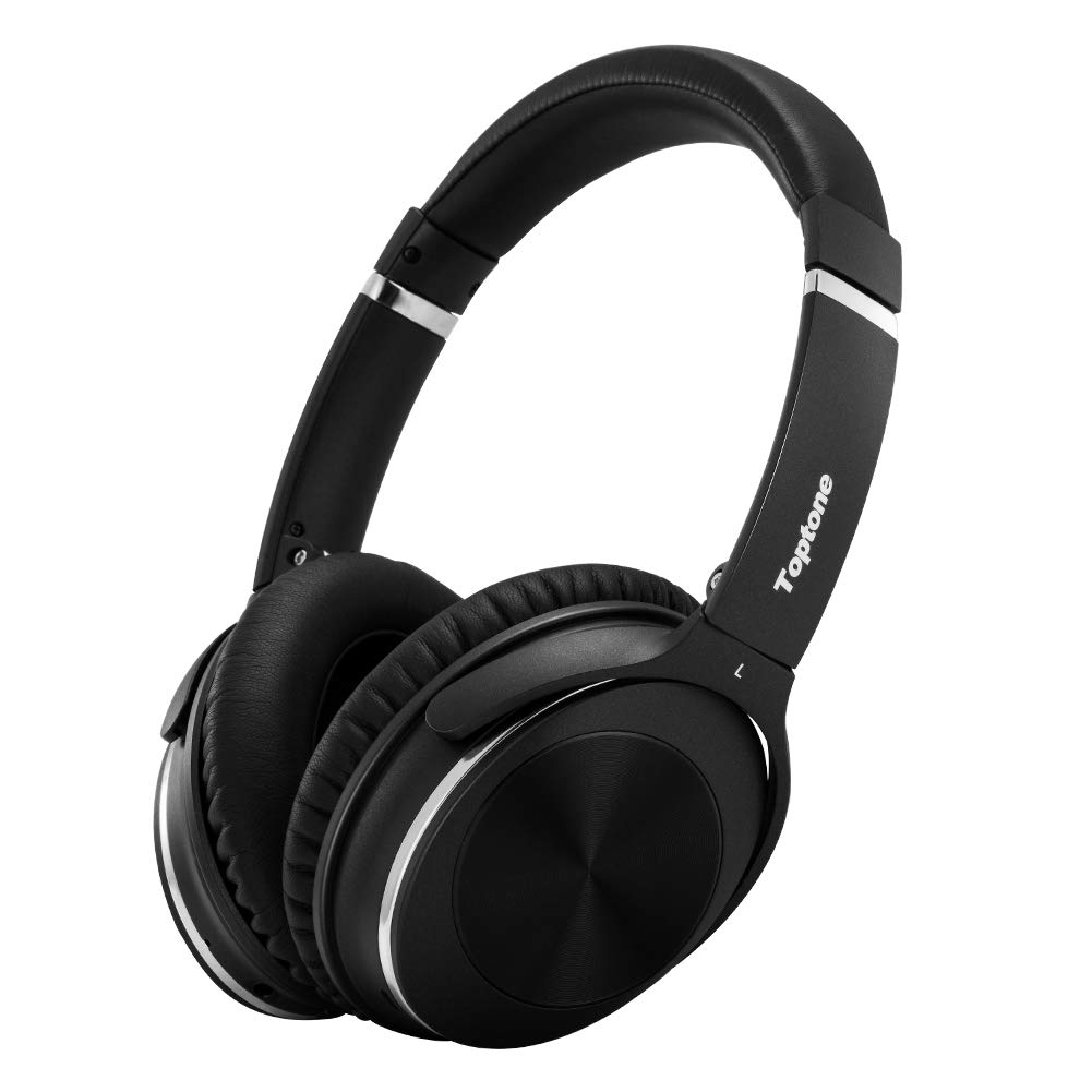 Toptone Active Noise Cancelling Headphones Foldable Lightweight ANC Wireless Headphones with Mic Hi-Fi Deep Bass, Comfortable Protein Earpads, Over Ear Bluetooth Headphones
