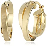14k Italian Yellow Gold Polished and Satin Double Twisted Hoop Earrings