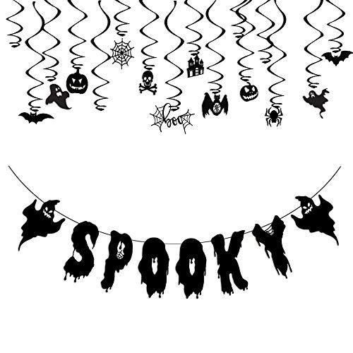 TMYSP Black Glittery Spook Halloween Banner with Swirl Ceiling Hanging Ghost Bat Pumpkin Halloween Party Decoration Set ()