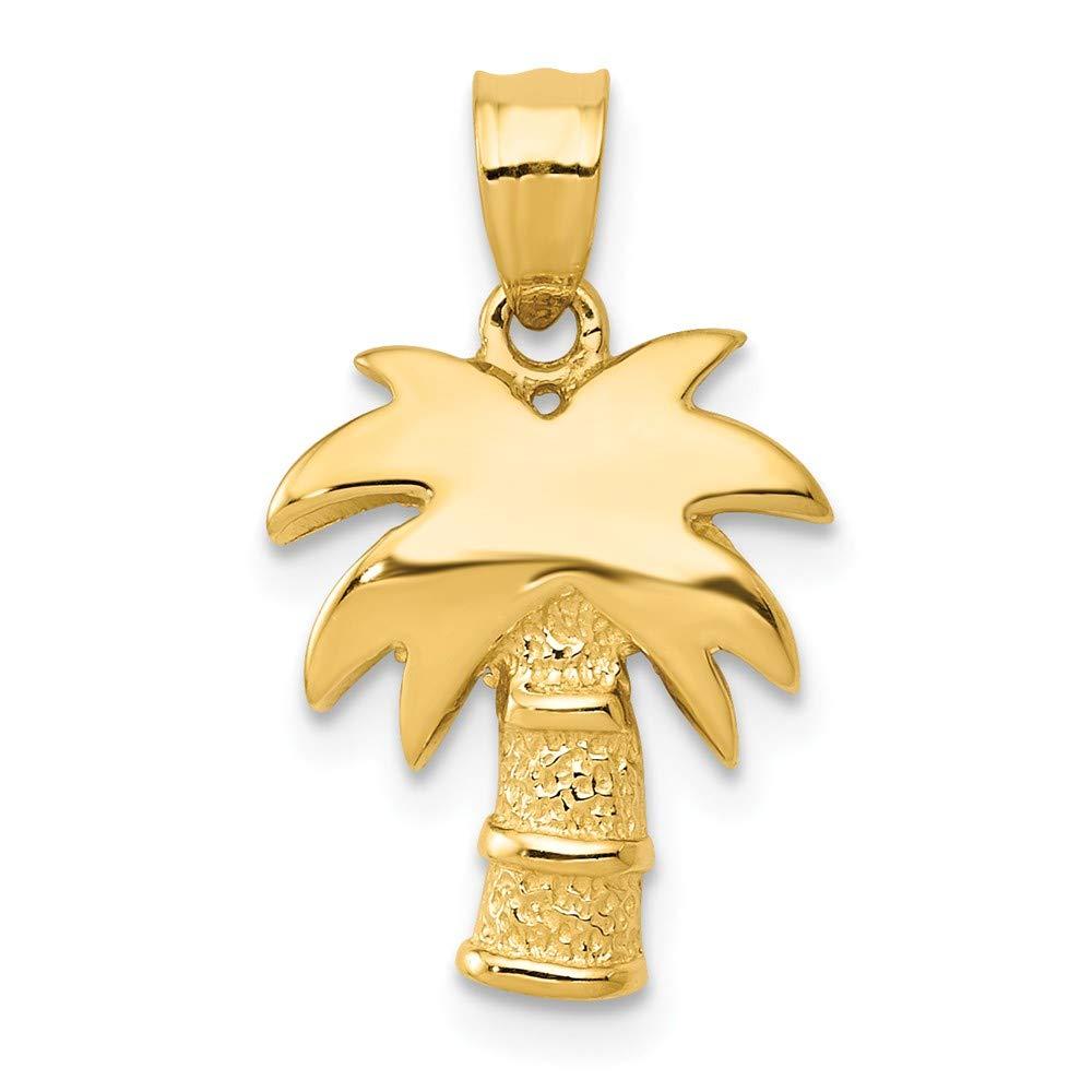 14k Yellow Gold Palm Tree Pendant Diamond2deal K4912