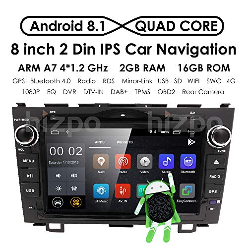 Android 8.1 OS Quad Core 8 inch 1024600 HD Touchscreen for Honda CRV CR-V 2006 2007 2008 2009 2010 2011 in Dash Car Stereo Kit DVD Player GPS Navigation Support Radio/DVR/OBD/TV/1080P - Radio Crv
