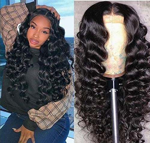 FDBZJP 26 Inch Lace Front Wigs Human Hair Brazilian Virgin Body Wave Human Hair Wigs Water Wave Lace Front Wig with Baby Hair Heat Resistant Hair Natural Hairline Wigs for Black Women