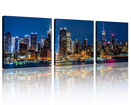 (TutuBeer Wall Art Painting Beautiful New York City Skyline New York Night Light Prints On Canvas New York Canvas Cityscape The Picture NYC City Pictures Print on Canvas for Home Decor,3pcs/Set)