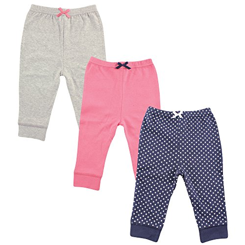 Luvable Friends 3 Pack Tapered Ankle Pants, Navy Polka DoT 9-12 Months