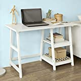 Haotian FWT16-W, Writing Computer Desk Laptop Table White Trestle Home Office Desk Study Reading Desk Workstation with 2 Open Tiers, 112x50x76cm For Sale