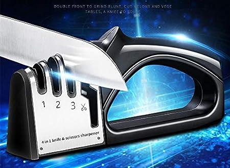 MINGZE Afilador De Cuchillos, 4 In 1 Afilador De Cuchillos Manual Profesional Con Base Antideslizante, Seguro Y Fácil De Usar Knife Sharpener Afilador De Tijeras