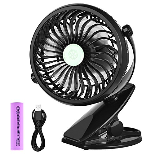 WoneNice Battery Operated Clip on Mini Desk Fan with Large Capacity of 2600mAh, Portable Rechargeable USB Fan for Office Home School and Gym, Baby Stroller Black