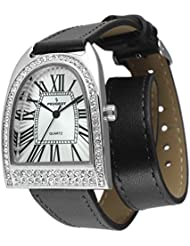 Peugeot Womens Silver Tone Horseshoe Design Crystal Watch with Double Wrap Black Calf Leather Strap.