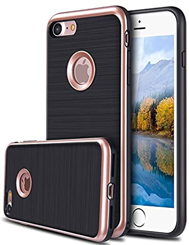 iPhone 7 Case, [Dual Layer: Thin Armor TPU Interior Silicone + Heavy Duty Solid PC Back] Scratch Resistant Brushed Surface (Rose (Iphone 4 Otterbox Armor Case)