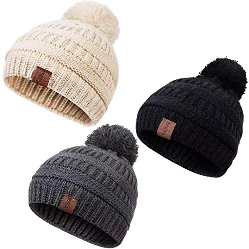 REDESS Baby Kids Winter Warm Fleece Lined Hats, Infant Toddler Children Pom Pom Beanie Knit Cap Girls Boys