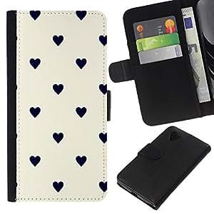 For LG Nexus 5 D820 D821 Case , Dot Heart Pattern Black Beige - la tarjeta de Crédito Slots PU Funda de cuero Monedero caso cubierta de piel