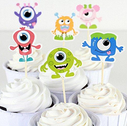Price comparison product image Lauren 24 Pcs Little Monster Qute Alien CupCake Decorative Toppers Cake Decorating Tools for Party