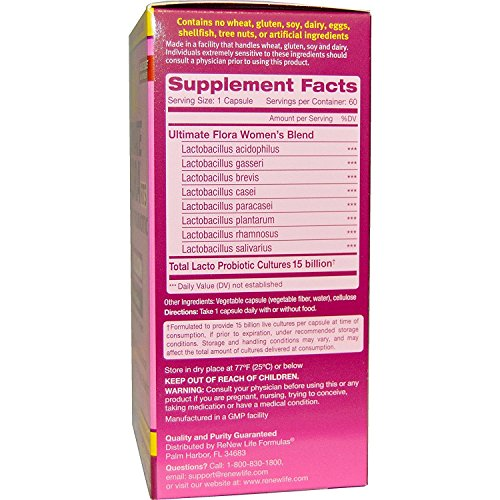 Renew Life Ultimate Flora RTS Womens Probiotic 60 Vcaps