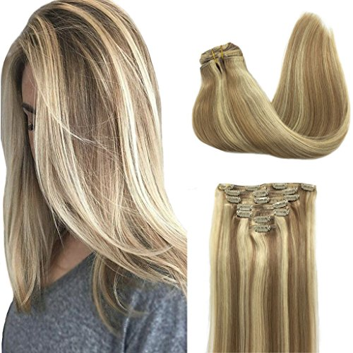 Googoo Hair Extensions Clip in Ombre Light Blonde Highlighted Golden Blonde Double Weft Clip in Human Hair Extensions Thick Straight Real Hair Extensions 16 inch 7pcs 120g (Extensions Hair Dark Blonde Real)