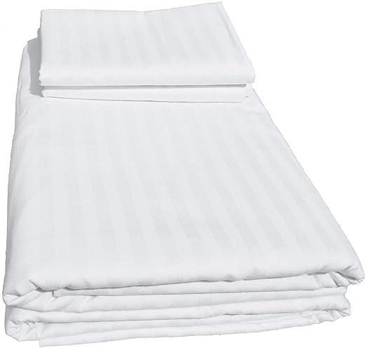 White Stripe Zipper Closer Duvet Cover 100/% Cotton 400-Thread-Count All Size