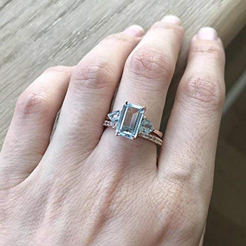 Rose Gold Aquamarine Ring- 1 carat Aquamarine Engagement Ring- Halo Promise Ring for Her- March Birthstone Ring- Emerald Cut Aquamarine Ring