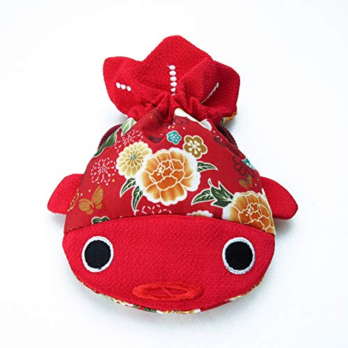 (✨ BARbee ✨ Red Japanese Chirimen & Kimono Print Fabric Goldfish Drawstring Pouch Coin Dice Purse Cosmetic Jewelry Key Travel Storage Bag Valentine's Day Gift (Large) )