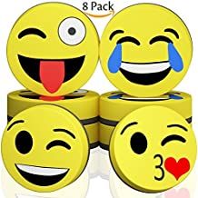 Hibery 8 Pcs Magnetic Smiley Face Circular Dry Whiteboard Eraser - Magnetic Whiteboard Eraser for Home, Office and School Classroom - Yellow