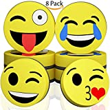 dry erase board eraser - Hibery 8 Pcs Magnetic Smiley Face Circular Dry Whiteboard Eraser - Magnetic Whiteboard Eraser for Home, Office and School Classroom - Yellow