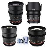 Rokinon T1.5 Cine 4 Lens Kit for Canon EF Mount - Consists of 24mm T1.5, 35mm T1.5, 50mm T1.5 DS Lens, 85mm T1.5 Lenses