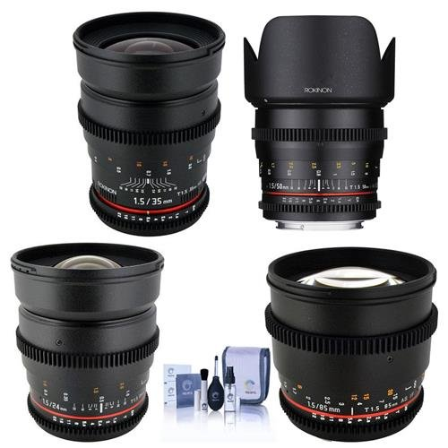 Rokinon T1.5 Cine 4 Lens Kit for Canon EF Mount - Consists of 24mm T1.5, 35mm T1.5, 50mm T1.5 DS Lens, 85mm T1.5 Lenses (Rokinon 35mm T1 5 Cine Ds Lens)