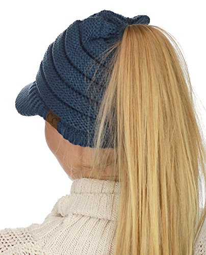 C.C BeanieTail Warm Knit Messy High Bun Ponytail Visor Beanie Cap, Dark Denim