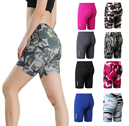 ba knife Fitness High Waist Ombre Shorts Summer Yoga Running Bike Active Shorts Compression Seamless Sport Short Power Flex Tummy Control Multicolor Brown L