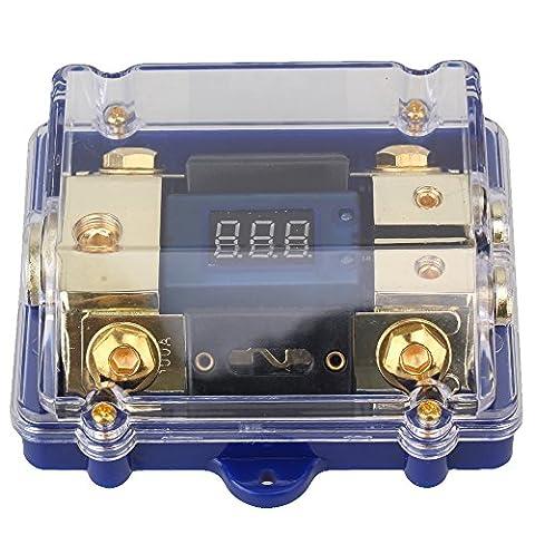 WEONE 1 in 2 Ways Car Audio Power Distribution Block Digital LED Display Fuse Holder (Car Audio Digital Fuse)