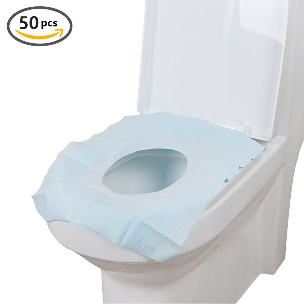 Portable Disposable Paper Toilet Seat Covers for Travel,Waterproof Antimicrobial Maternal Disposable Toilet Mat - 18'' L x 15'' W (White50)