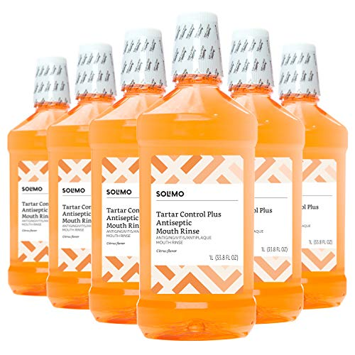 Amazon Brand - Solimo Tartar Control Plus Antiseptic Mouth Rinse, Citrus, 33.8 Fl Oz (Pack of 6)