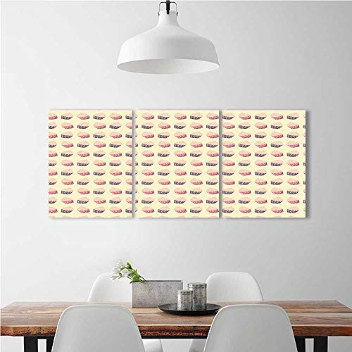 aolankaili 3 Panel Wall Art Set Frameless Retro Cupcakes with Dots in Soft Colors Romantic Sweet Pastries Repetitive for The Kitchen, Dining Room, Living Room, bar and so on W16 x H32 x 3pcs