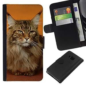 All Phone Most Case / Oferta Especial Cáscara Funda de cuero Monedero Cubierta de proteccion Caso / Wallet Case for HTC One M9 // Maine Coon Cat Orange House Pet