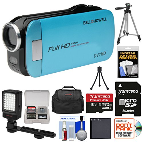 Bell & Howell Slice2 DV7HD 1080p HD Slim Video Camera Camcorder (Blue) with 16GB Card + Battery + Case + Tripods + LED Light + Kit (Bell Dnv16hdz Howell)