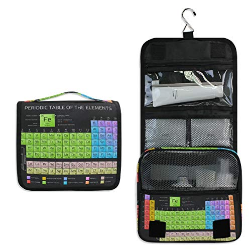 JOYPRINT Hanging Toiletry Bag Periodic Table Of The Elements Atomic, Makeup Bag Cosmetic Bag Bathroom Travel Organizer Large for Women Girls