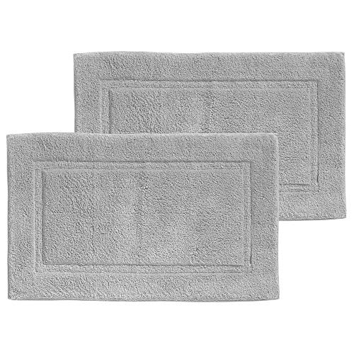 mDesign Soft 100% Cotton Luxury Hotel-Style Rectangular Spa Mat Rug, Plush Water Absorbent, Decorative Border - for Bathroom Vanity, Bathtub/Shower - Machine Washable - 2 Pack - Gray