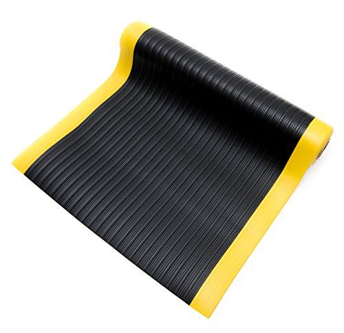 Bertech Anti Fatigue Vinyl Foam Floor Mat, 3' Wide x 20' Long x 3/8'' Thick, Ribbed Pattern, Black w/Yellow Border (Made in USA) by Bertech (Image #1)