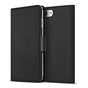 BONAVENTURA iPhone X Leather Wallet Case w/ Magnet Lock (European Full-Grain PERLINGER Leather) | Luxury Flip Cover Case w/ Magnet [iPhone X | Black]