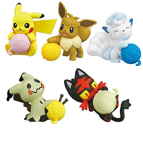 Pokemon Sun & Moon Pikachu Litten Mimikyu Eevee Alolan Vulpix Nuku Time Ball of Yarn Character Capsule Mini Figure Collection Anime Art Set of ()