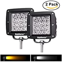 Rigidhorse 2 pcs 4 Row 4 Inch 38W Dual-Color White&Yellow Combo LED Spot Lights Off Road Light Driving Lights LED Work Light For Jeep/SUV/Trucks With Slidable Mounting Bracket, 1 Year Warranty