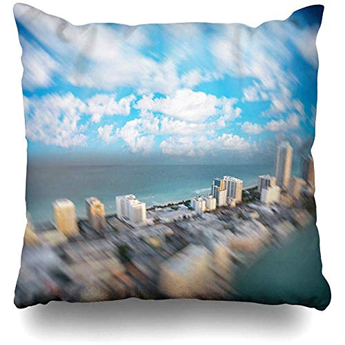 Throw Pillow Cover Square Cases 18x18 Sunny Blue Aerial Miami Beach Sunset Skyline Helicopter Hotel Florida Above America American Bay City Estate Zippered Cushion Case Home Decor]()