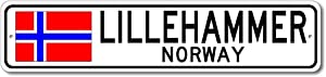 Lillehammer, Norway - Norwegian Flag Street Sign - Metal Novelty Sign, Personalized Gift Sign, Man Cave Sign, Street Sign, Norway City Sign, Made in USA - 4x18 inches