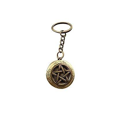 Llavero de bronce, colgante de pentagrama, llavero, llavero ...