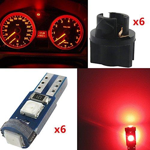 WLJH 6pcs Canbus Error Free T5 74 37 27 17 3-3030SMD LED Gauge Cluster Dashboard Instrument Panel Light Lamps Bulb w/Twist Lock Socket(Red)