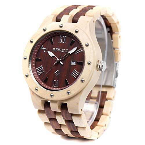 Bewell W109A Fashion Natural Wood Watches for Men Quartz Movement Water Resistant Date Display Lumious Pointers (Maple and Red Sandalwood)