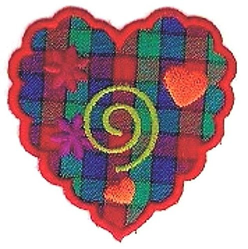 2.25Red Flower Plaid Green Swirl Orange Heart Embroidery Patch