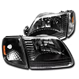 1997-2003 Ford F-150 / 1997-2002 Expedition Crystal Headlights with Corner Lights + 8000K HID Conversion Kit - Black