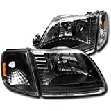 ZMAUTOPARTS Ford F150/ EXpedition Crystal Head Light W/Corner Signal Black/Amber
