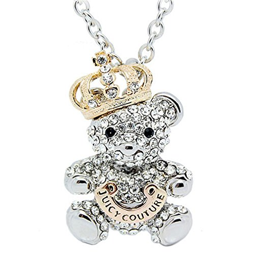 Fashion Jewelry Collection Diamond AAA Zircon Cute Teddy Bear Colorful Crystal Pendant Necklace (C2)
