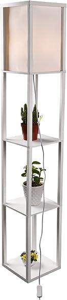 Shelf Floor Lamp 63 Inch Linen Shade Wood Frame Compatible Light Fixture